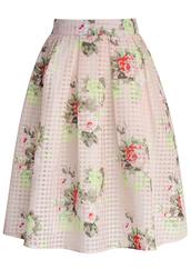 skirt,chicwish,floral check print skirt,organza skirt,chicwish.com