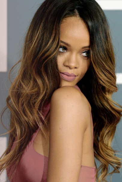 hair accessory rihanna rihanna style hair lipstick pink lipstick ombre cute girly celebrity pink dress dress hair/makeup inspo wavy hair summer beauty ombre hair