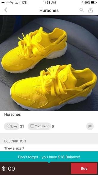 shoes nike air huaraches huaraches nike shoes huarache yellow nike sneakers