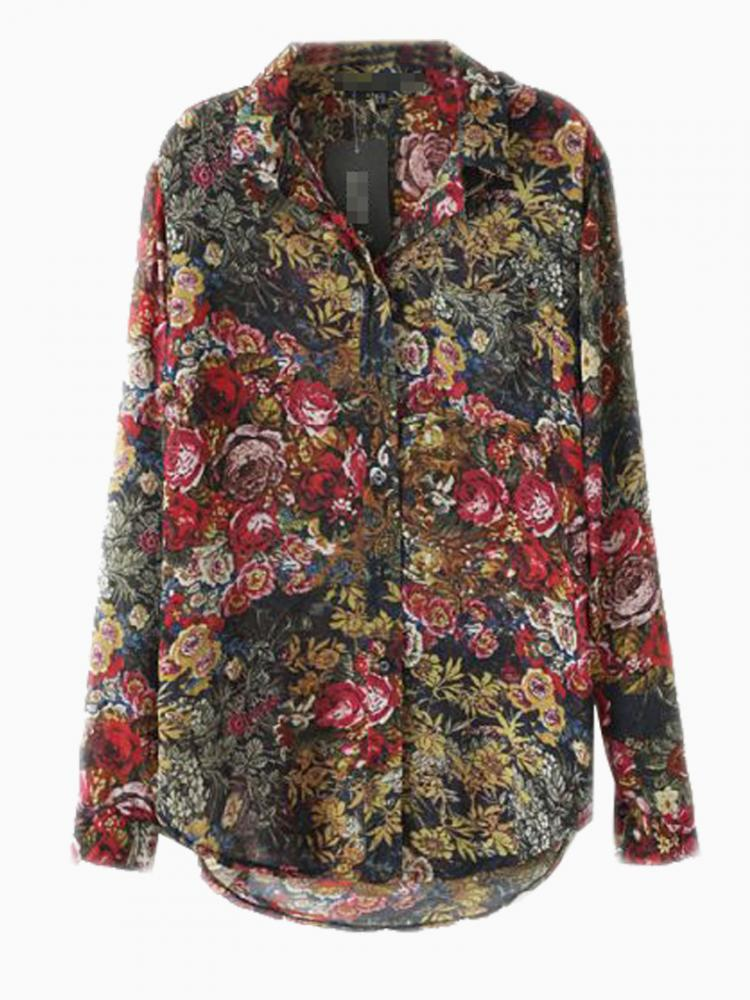 Vintage Brown Floral Print Shirt | Choies
