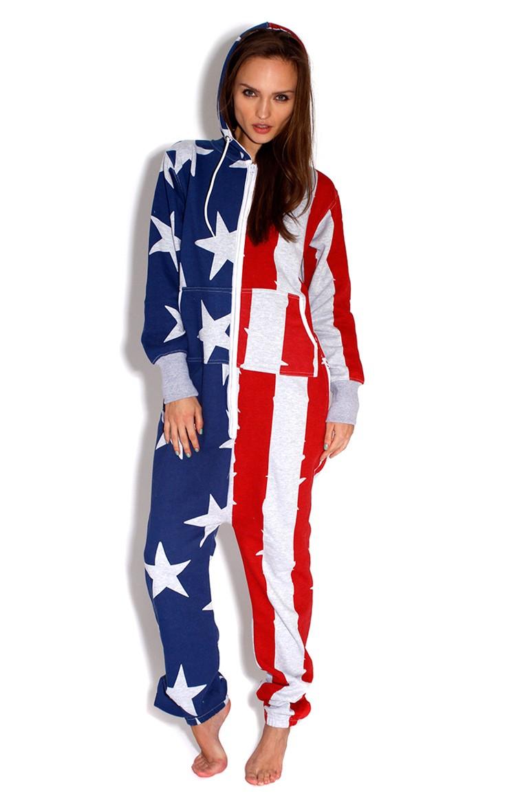 American Flag Grey Onesie | PrettyLittleThing.com