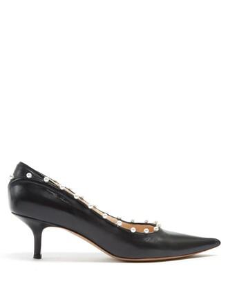 pearl embellished pumps leather black shoes