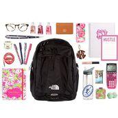 bag,backpack,north face,school supplies,notebook,black bag,calculator,back to school,desk,school bag,stationary