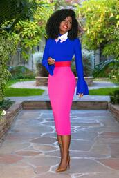 blogger,top,skirt,t-shirt,shoes,pumps,pencil skirt,pink skirt,bell sleeves