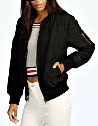 top bomber jacket jacket fashion casual coat black chic crop tops style streetwear stripes striped top grey top