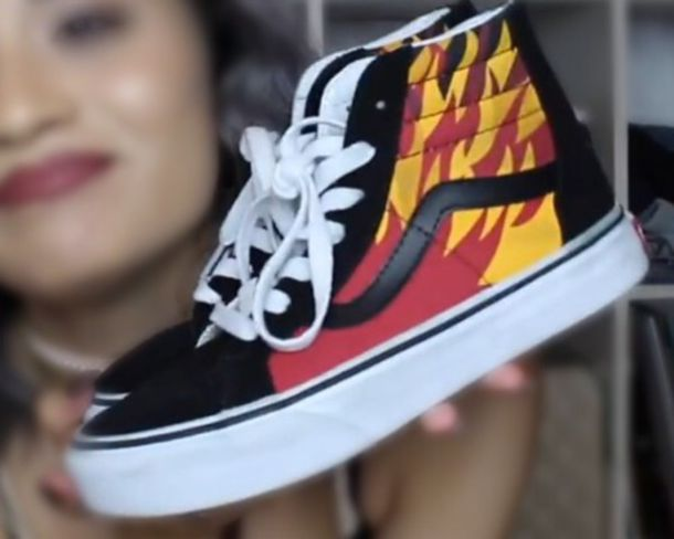 f377a757c4 shoes black fire orange yellow sneakers high heels flats vans vans nike  adidas thrasher sk8-