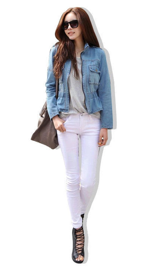 Womens Washed Blue Denim Jacket Nipped Waist Jean Jacket Coat Size S-L | eBay