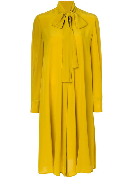 McQ Alexander McQueen dress bow dress bow women silk yellow orange