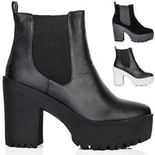 New womens block heel cleated sole platform chelsea ankle boots size 3