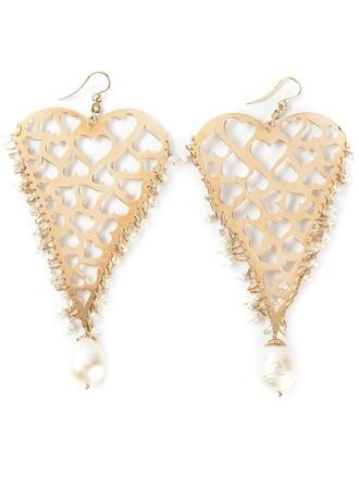 heart earrings heart women earrings gold yellow grey metallic jewels