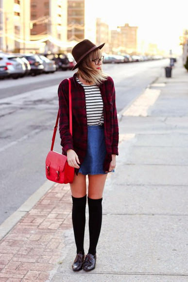 flannel shirt t-shirt steffy's pros and cons blogger shoes knee high socks