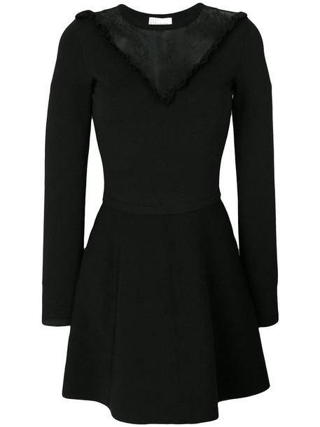 RED VALENTINO dress women spandex lace black