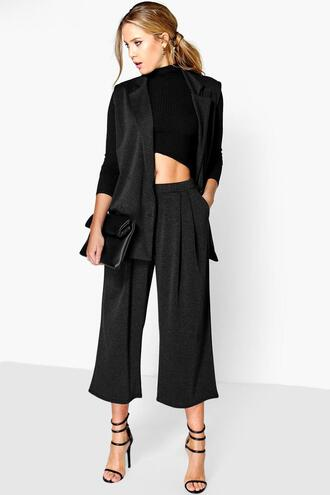 pants cropped pants grey pants charcoal pants wide-leg pants crop trouser