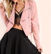 jacket,girl,girly,girly wishlist,biker jacket,pink,pink jacket,zip,cute,suede,suede jacket