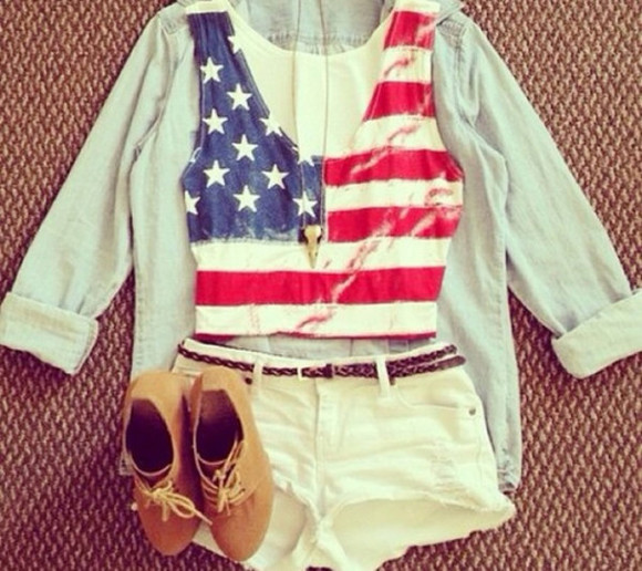 shoes shorts brown shoes coat shirt blue shirt usa shirt gold, chain, necklace