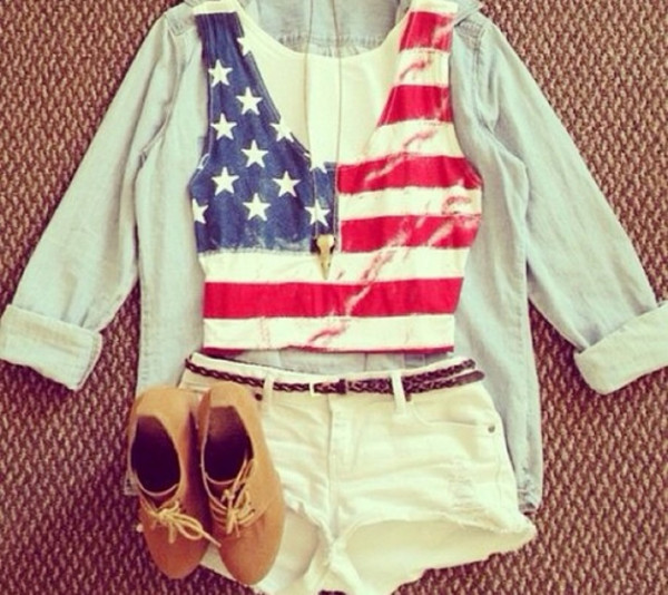 shirt shorts brown shoes blue shirt usa shirt gold shoes coat