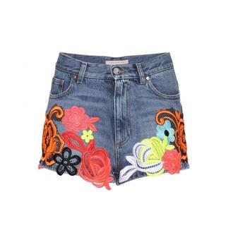 shorts denim embroidered