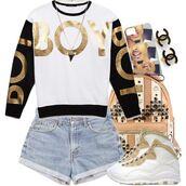 top,boylondon,black,white,gold,long sleeves,shirt,dope,phone cover,shoes,jewels,bag