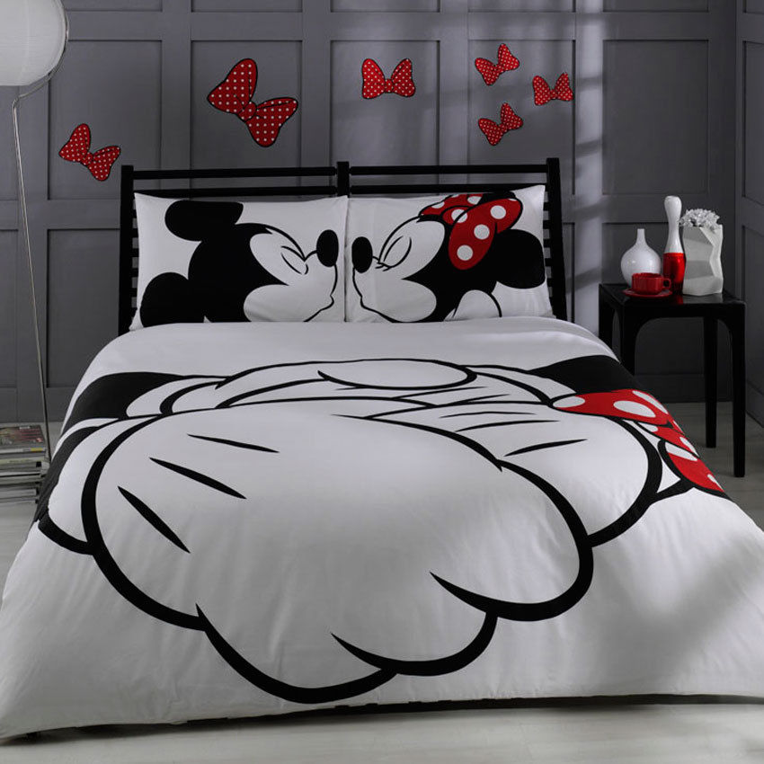 Mickey & Minnie Kissing, Bedding Set, Double (Queen (US))