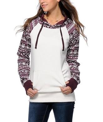 jacket burgundy white hoodie aztec hoodie