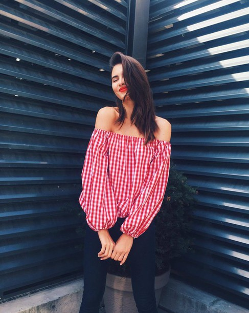 2d6598a0ec9 blouse haute rogue red blouse red and white blouse off the shoulder top off  the shoulder
