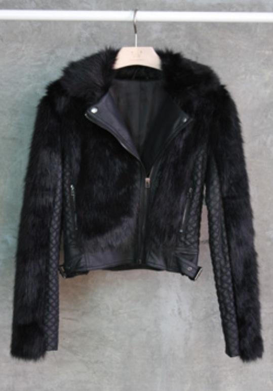Leather and Fur Fashion Jacket  / Precious Metalz