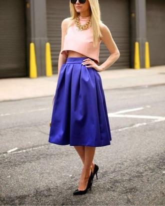 dress blue skirt pink top skirt top midi skirt navy skirt blogger