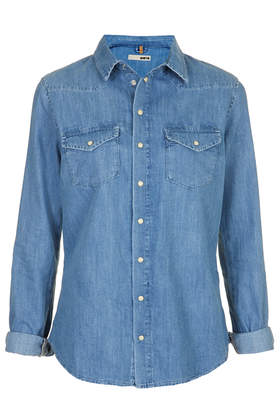 MOTO Fitted Denim Shirt - Topshop USA