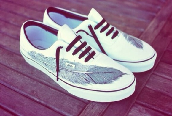 feathers white shoes vans white vans feather motif printed vans vans shoes