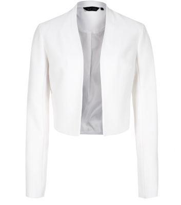 White Collarless Crop Blazer