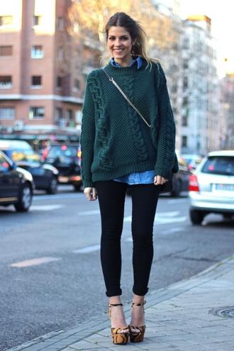 sweater green oversized sweater blue shirt black jeans orange platforms blogger