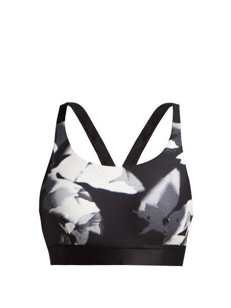 bra sports bra floral white print black underwear