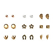 Flowers, hearts and horseshoes stud earrings set of 9