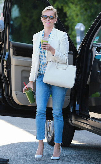 blouse shirt reese witherspoon denim jeans blazer bag