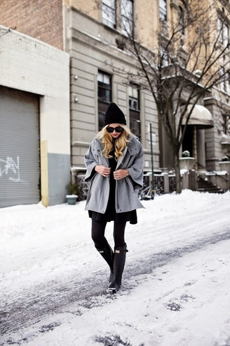 atlantic pacific blogger winter outfits grey coat wellies jacket skirt shoes sunglasses