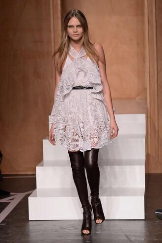 cara delevingne dress fashion week 2014 lace dress