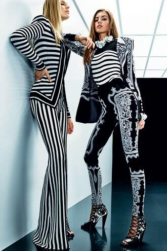 leggings pants balmain jacket stripes striped pants paris fashion week 2017