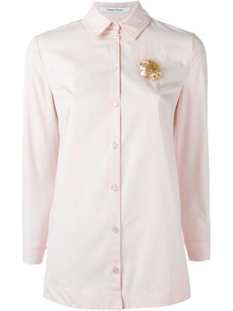 shirt embellished purple pink top