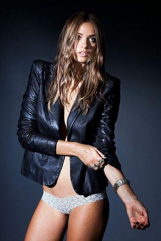 jacket michelle vawer model leather jacket black jacket panties white panties bracelets ring brunette