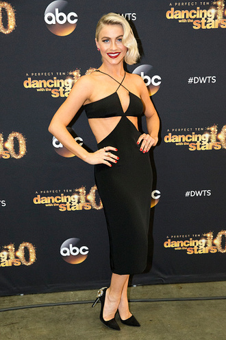 shoes pumps julianne hough cut-out dress black dress dress midi dress