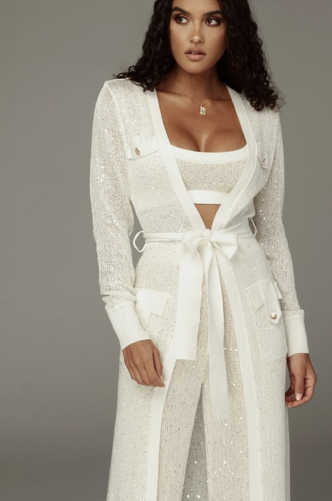 Ivory Keresse Sequin Sweater Duster