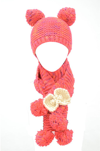 Womens Judith Woollen Hat with Scarf and Mitten's attached In Red | Pop Couture
