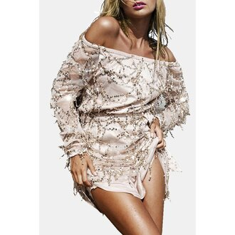 dress sparkle fashion trendy off the shoulder party cute rose wholesale-ap