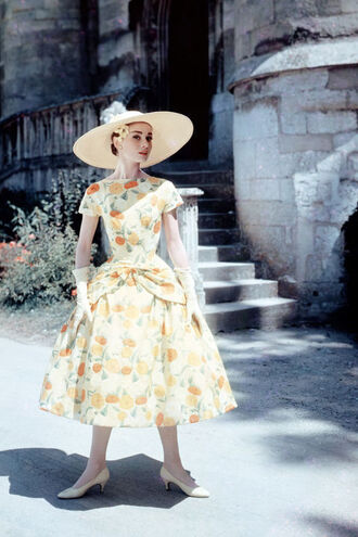 dress audrey hepburn midi dress floral dress a line dress hat big hat straw hat pumps pointed toe pumps nude pumps gloves white gloves vintage dress