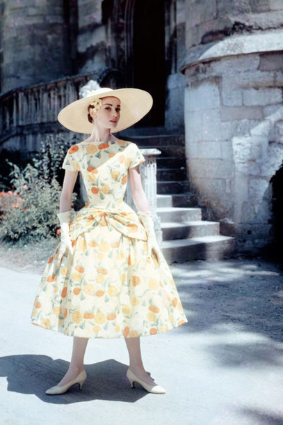 777b5d2e409 dress audrey hepburn midi dress floral dress a line dress hat big hat straw  hat pumps