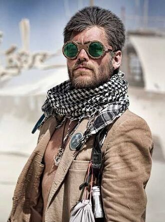 scarf burning man burning man clothing burning man costume round sunglasses festival music festival