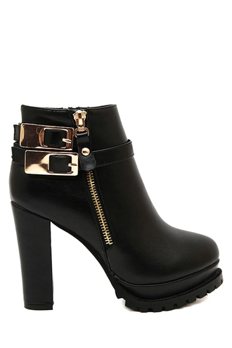 shoes fashion black buckles boots style trendy gold faux leather platform shoes zip