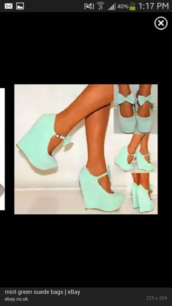 shoes bowtie wedges high heels heels wedges bow fashion blue bows bows cute shorts baby blue aqua bow high heels mint mint green heels