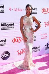 dress,gown,billboard music awards,kelly rowland,wedding dress,long prom dress,prom dress,silver,sequins,sparkle,sparkly dress,black girls killin it