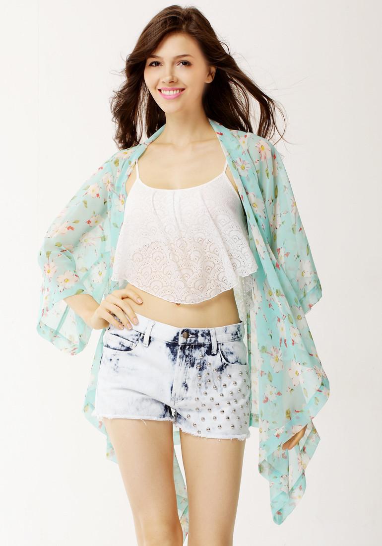 Floral Crop Sleeves Kimono - Sky-blue - Lookbook Store